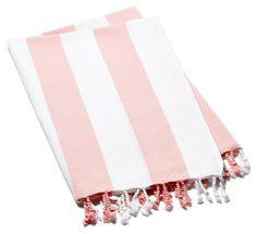 Classic Striped Towel, Peach