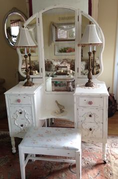 Shabby Chic Antique Chippy White Vintage Vanity with Tri-fold Mirror and Bench~Cottage~French Country~Farmhouse~Victorian