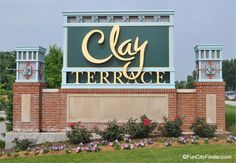 Clay Terrace Mall green sign in Carmel, Indiana