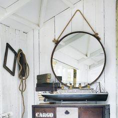 Spiegel CABINE aus Metall mit Rosteffekt, H 70cm