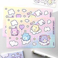 Care Cats Stickers – LaznyeCreaShop Vinyl Sticker Paper, Cat Stickers, Hello Kitty, How To Draw Hands, Doodles, Rainbow, Cats, Rain Bow, Rainbows