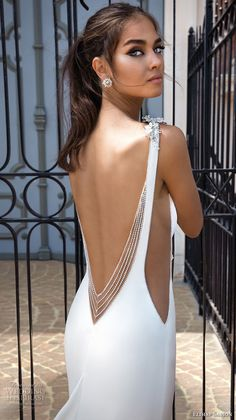 elihav sasson 2018 capsule bridal sleeveless bateau neck simple clean bodice open side drop waist elegant a  line weddng dress low open back chapel train (5) zbv -- Elihav Sasson 2018 Royalty Girl Capsule Collection