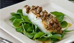 Grilled Sea Bass with Pistachio Crust and Tropical Passion Fruit Vinaigrette