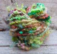 Handspun Yarn Art Yarn Lockspun Mohair Bulky by RainbowTwistShop