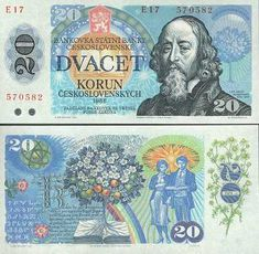Czechoslovakia 20 Korun 1988 (J. tree of life) Euro Währung, Money Games, Money Bank, Coin Values, Old Money, Commemorative Coins, Stamp Collecting, Retro, Postage Stamps