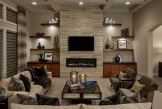 18 Lovely Living Room Designs With Wall Mounted TV - Decoration, Room Decoration, Decoration Appartement, Home Decor, Bedroom Decor Linear Fireplace, Fireplace Shelves, Fireplace Built Ins, Fireplace Remodel, Living Room With Fireplace, Fireplace Surrounds, Fireplace Design, Fireplace Tv Wall, Wall Tv