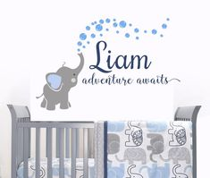 Elephant Decal Name Wall Decal Adventure Awaits Elephants Baby Boy Room Decor Decals Nursery Boys Decals Custom Name decal Nursery - Name Baby Boy - Ideas of Name Baby Boy - Elephant Nursery Boy, Nursery Wall Decals Boy, Baby Room Wall Decor, Name Wall Decals, Boys Room Decor, Nursery Room, Nursery Signs, Baby Boy Rooms, Baby Bedroom