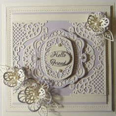 Here's a sample from the April die release for you. I started with a piece of wisteria card and cut the Lattice Edging di. Book Making, Card Making, Sue Wilson Dies, Shabby Chic Cards, Anna Griffin Cards, Handmade Birthday Cards, Handmade Cards, Die Cut Cards, Paper Cards