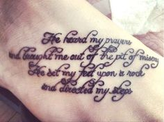Psalm 40:2 | 30 Inspirational Bible Verse Tattoos