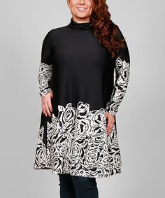 Another great find on #zulily! Black & White Floral-Trim Tunic - Plus #zulilyfinds