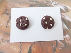 Realistic White Chocolate Chip Cookie Stud Earrings, Novelty, Miniature Food £5.50