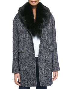 Dawn Levy 2 Kaba Tweed Coat W/ Removable Faux-Fur Trim