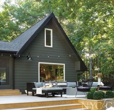 A Catskills Bungalow Gets a Modern Revamp - New York Cottages & Gardens - March 2017 - New York, NY Black House Exterior, Exterior Paint Colors For House, Paint Colors For Home, Cabin Exterior Colors, House Exterior Design, Outdoor House Colors, Beach Bungalow Exterior, Green House Paint, Modern House Colors