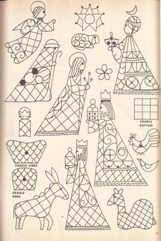 Vintage Embroidery Patterns Creche Patterns Suitable for Stitching, II Christmas Nativity, Noel Christmas, Christmas Colors, Christmas Projects, Vintage Christmas, Christmas Ornaments, Primitive Christmas, Country Christmas, Christmas Decor
