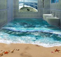 Forget a small, framed picture of a starfish or dolphin on your bathroom wall when you can go the whole hog and install one of these amazing 3D murals. Your house guests will almost believe they have been transported far, far away as they enter the bathroom and close the door behind them!