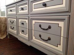 Annie Sloan's French linen and old Ochre color combo! Great for this dresser redo!