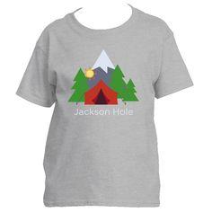 Jackson Hole, Wyoming Mountain Camping - Youth/Kid's T-Shirt
