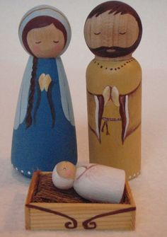 by MaketheScene on Etsy Nativity Peg Doll, Wood Peg Dolls, Nativity Crafts, Clothespin Dolls, Christmas Nativity, Christmas Ornaments, Christmas Bells, Felt Ornaments, Xmas