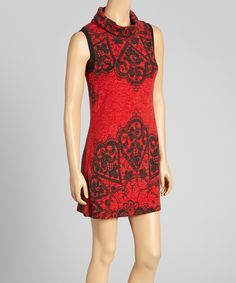 Red & Black Lace Print Sleeveless Dress