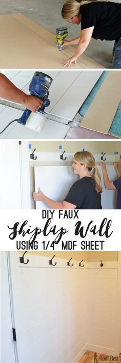 DIY Shiplap Wall Panel Love the look of a shiplap wall but don't want the gaps between the planks. Problem solved, route grooves in a plywood sheet for the shiplap 'planked' wall look! Set by step guide and tips. Paneling Sheets, Shiplap Paneling, Faux Shiplap, Shiplap Diy, Paneling Ideas, Diy Wood Wall, Pallet Walls, Pallet Tv, Plywood Sheets