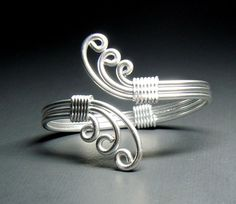 Waves Adjustable Bracelet in all silver by melissawoods on Etsy, $18.00