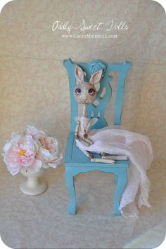 Art Doll TILLY Animal Bunny Primitive Pink Shabby by OddlySweet