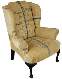 Just in case you like your chairs in vintage 1925 flour sacks I thought I should post this Black Dining Room Chairs, Old Chairs, Office Chairs, Wingback Armchair, Upholstered Dining Chairs, Recover Chairs, Settee, Armchairs, Jute