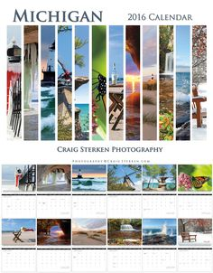 2016 Michigan Calendar featuring photos from South Haven, Grand Island on Lake Superior, Ludington Pier Light, Windmill Island in Holland, Chapel Rock, Monarch Butterfly, Ludington State Park beach, Sea Cave on Lake Superior, Ludington Big Sable Light, Rock River Falls near Chatam, Splash on Lake Superior, and Dow Gardens. Twelve months of Michigan photos by Craig Sterken. Calendar is $15 + $3.99 for shipping. A great gift!