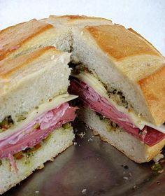 Celebrate Mardi Gras with this muffuletta sandwich recipe.  #recipe #mardigras #sandwich #muffuletta
