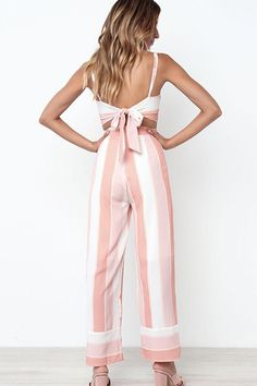 Nordstrom Pants - Women Pink Stripe Spaghetti Straps Knotted Casual Crop Top Pants Suit Set - S Crop Top Outfits, Hot Outfits, Dance Outfits, 60s Fashion Trends, Only Fashion, Classy Fashion, Petite Fashion, Teen Fashion, Pink Jumpsuit