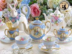 Rabbit and Rose. Royal Albert teapot in the back, right side. (I have this!)