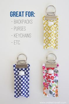 Sewing Projects To Sell DIY Fabric Chapstick Holder.attach to purses, backpacks, keychains, etc. Sewing Hacks, Sewing Tutorials, Sewing Crafts, Sewing Projects, Sewing Tips, Diy Projects, Diy Bags Holder, Chapstick Holder, Diy Keychain