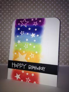 Inspired by Kristina Werner. HB Rainbow handmade card.