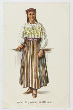 Maiden from Jõelähtme, North Estonia. Vintage postcard (1926) Eesti muuseumide veebivärav - Neiu, pärg peas. Jõelähtme