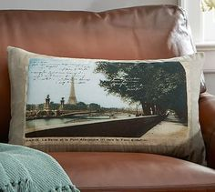 Paris Postcard Print Lumbar Pillow Cover. Floral PillowsDecorative Throw ...
