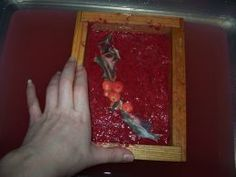 Great paper making demo To add a picture, simply place the photo on the pulp while it is still under water.