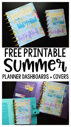 Free printable planner dashboards for Summer! Happy Planner Classic + Mini size, plus half letter and personal size, too!