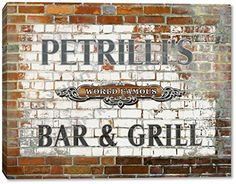 PETRILLI'S World Famous Bar & Grill Brick Wall Stretched Canvas Print Canvas One http://www.amazon.com