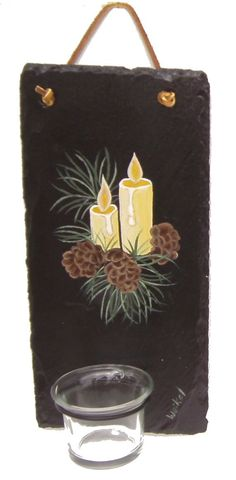 Painted Slate Wall Sconce with Pinecones by WhatsInGrampasShack, $18.00 #dteam