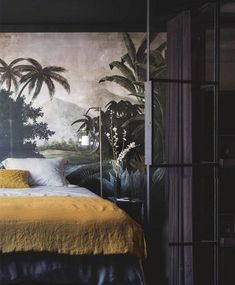moody bedroom with exotic wall mural. / sfgirlbybay