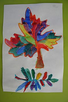 Thursday, October 20, 2011  Easy Fall Kid Craft: Colored Glue Leaves With Watercolor Resist
