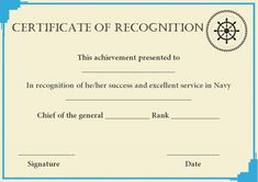 Certificate of Recognition Templates: Best Ideas and Free Samples - Demplates Certificate Of Recognition Template, Certificate Templates, Navy Chief, Certificate Of Appreciation, Free Samples, Are You The One, Basketball, Good Things, Ideas