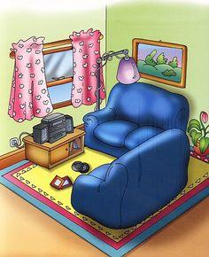 Láminas temáticas de expresión oral: El salón http://www.imagenesydibujosparaimprimir.com/2011/07/imagenes-habitaciones-casa-para.html