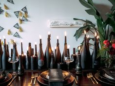 13 Things Needed To Keep Your Halloween Party Classy AF - Black magic (aka candles). Spooky Halloween, Modern Halloween Decor, Adult Halloween Party, Halloween Dinner, Halloween Table, Halloween Birthday, Halloween Party Decor, Holidays Halloween, Classy Halloween Wedding