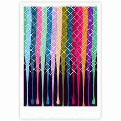 "Famenxt ""Rainbow Drops"" Multicolor Argyle Fine Art Gallery Print"