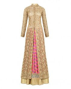 Golden Beige Lengha Set with Sequins and Embroidery - Kylee Lehengas for woman