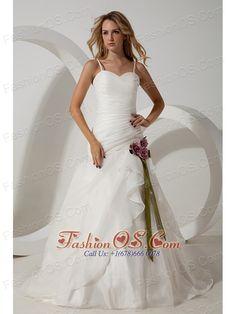 Elegant A-line Straps Wedding Dress Hand Made Flowers Brush Train Organza  http://www.fashionos.com   | wedding dresses with brush train | bay saint louis | ball gown with brush train | sexy wedding dresses with contrasting hand made flowers |