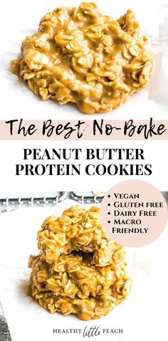 A healthy cookie, really? Yes, my No Bake Peanut Butter Protein Cookies are simply delicious. Each one of these cookies has 5 grams of protein and is the perfect treat for your sweet tooth. Gluten Free, Dairy Free and Macro friendly. Peanut Butter Protein Cookies, Healthy No Bake Cookies, Dairy Free Cookies, Peanut Butter No Bake, Gluten Free Treats, Dairy Free Recipes, Protein Cake, Protein Muffins, Healthy Baking
