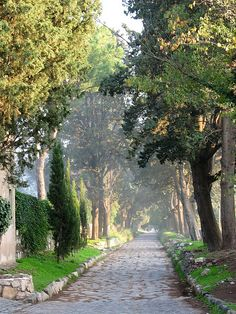 A view along the Via Appia Antica, Rome. The view was shot almost exactly ten years ago November Appian Way, Stone Road, Roman Roads, Classical Antiquity, Scottish Castles, Roman History, Most Beautiful Cities, Ancient Rome, Adventure Is Out There