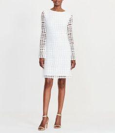 Lauren Ralph Lauren Round Neck Long Sleeve Geometric Lace Shift Dress #Dillards